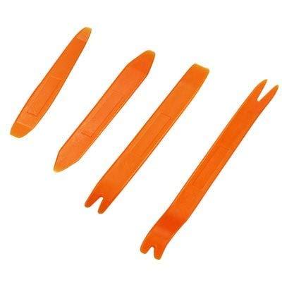 ExcLent 4Pcs Outil De Suppression Tableau De Bord Stéréo De Voiture Radio Porte Clip Panneau Garniture Automatique Audio Levier Levier Refit Ensemble en Plastique Abs - Orange