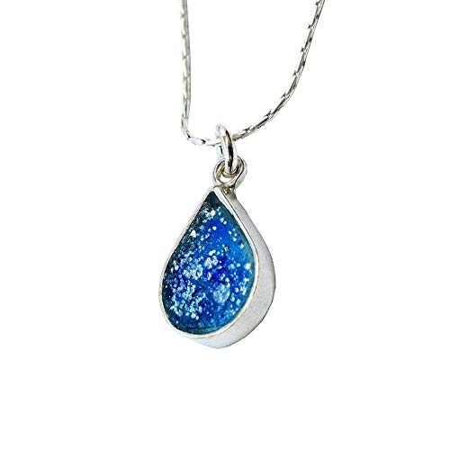 Edel Silber Sterling Halskette mit Anhang im Mittelmeerblau | Tropfenform | Antik-römisches Glas 2000 Jahre alt | Kunsthandwerk extraordinaire by Niibuhr Jewelry