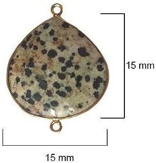6 Pcs Natural Dalmatian Jasper Heart 15mm 24K Gold Vermeil by BESTINBEADS, Semi Precious Stone Heart Pendant Bezel Gemstone Connectors Over 925 Sterling Silver Bezel Jewelry Making Supplies