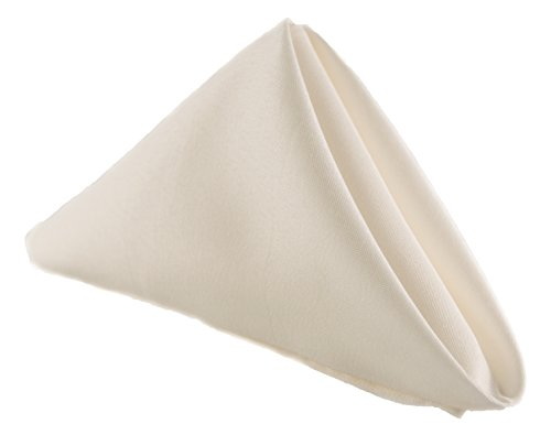 Stain Resistant Polyester Cloth Dinner Easter Napkins 17 in - Washes Easily Non Iron - Thanksgiving Restaurants Dinner Wedding Parties Christmas New Year eve (IVORY, Napkins 17'x17' 5PCs)