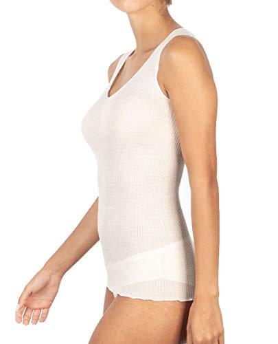 Ropa interior 2D de mujer de canalé, con tirantes anchos de lana 85% y seda 15% con borde plisado Bianco Lana L-XL