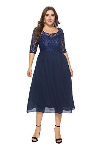 Shangrui Vestido de Talla Grande para Mujer, Encaje Elegante Gasa Vestido de Fiesta Formal
