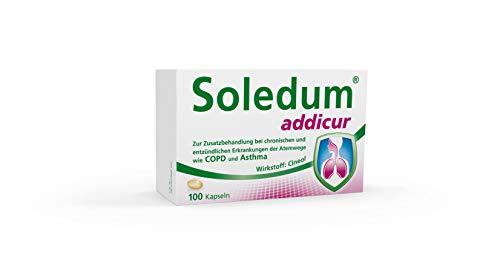 Soledum Addicur | Zur Zusatzbehandlung bei chronischen und entzündlichen Erkrankungen der Atemwege wie COPD und Asthma | 100 Kapseln
