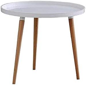 ArtDesign FR Tavolino da caffè in Legno Tavolino Rotondo Moderno Tavolino da Salotto con Tavolo da Snack Tavolo da Pranzo per Casa e Ufficio, Bianco(1PC)