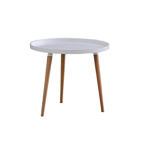 Comfortableplus Tavolini da caffè in Legno di incastramento Tavolino Moderno Tavolino Moderno Snack Tavolo da Comodino per Soggiorno, casa e Ufficio, Bianco (Rotondo)
