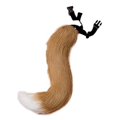 Amosfun echte Fuchsschwanz Flauschigen Fellschwanz Verstellbarer Riemen Kunstfell Fuchs Kostüm für Cosplay Weihnachtsfeier Kostüm Requisiten (weiße Kamelfarbe)