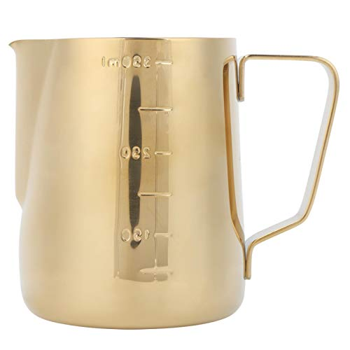 Milk Frothing Cup, Durable Milk Jug Milk Steaming Pitcher, Milk Measuring Cup Latte Art Cup Stainless Steel for Coffee Shop Home Cafe Bar(Golden, 350ML (with scale))