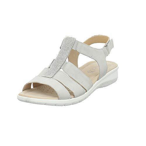 CAPRICE Damen 28650-243 Graue Veloursleder Sandalette Größe 36 EU Grau (lt. Grey)