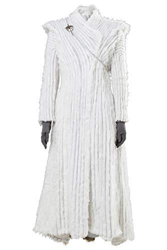 SIDNOR GOT Game of Thrones Daenerys Targaryen Costume Season 8 S7 E6 Halloween Cosplay Winter Dragonstone Outfit Dress White