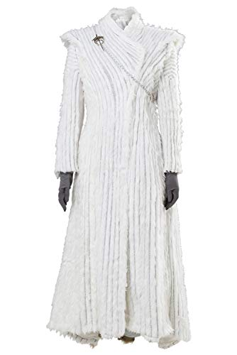 Manfis Juego de Tronos Season 7 E6 Daenerys Targaryen Dany - Disfraz de invierno Dragonstone Snow Dress