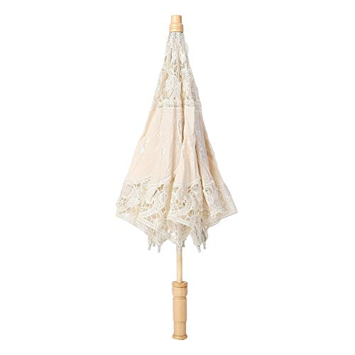 Delaman Bride Umbrella Handmade Lace Flower Embroidery Parasol Wedding Bride Photography Umbrella (Color : Beige, Size : L)