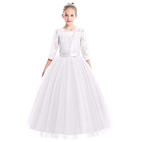 Flower Girl Long Princess Dress Vintage Lace Maxi Gown for Kids Formal Wedding Bridesmaid Pageant Tulle Dresses Little Big Girls First Communion Birthday Dance Prom Puffy Dress # White 7-8 Years