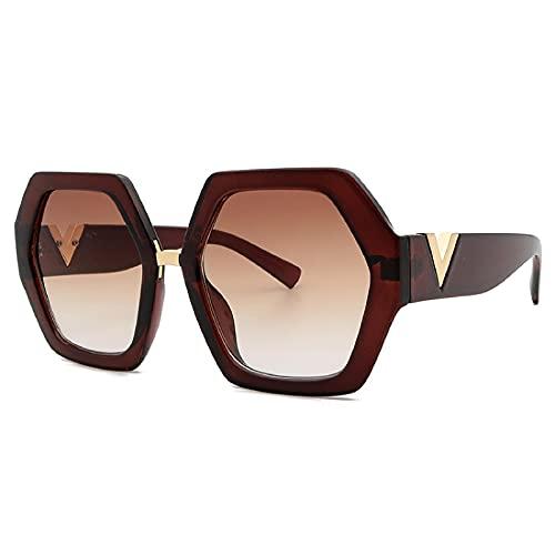 NBJSL Gafas de sol hexagonales con montura grande a la moda para mujer, gafas de sol protectoras Uv para mujer, embalaje de regalo exquisito