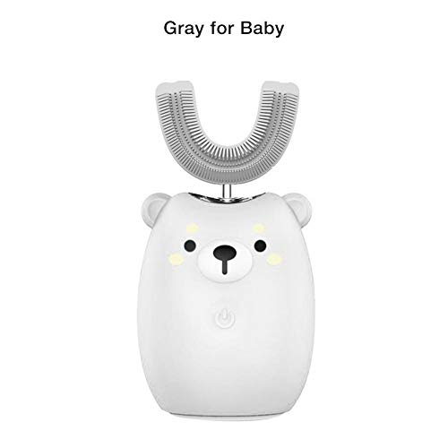 Elektrische kindertandenborstel U-vorm automatische ultrasone tandenborstel 360 graden vrije handen waterdicht oplaadbaar speciaal voor kinderen van 2 tot 12 jaar pour 2-6 ans bébé grijs.