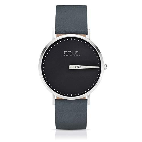 Pole Watches Orologio da Polso Analogico Monolancetta di Quarzo da Uomo Quadrante Grigio Piombo e Cinturino di Cuoio Blu Modelo Classic Magnus C-1001PL-MA05
