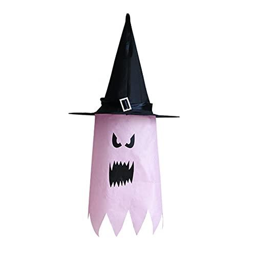 XIXIMAON Sombrero de Bruja Iluminado para Halloween Disfraz Sombrero con LED Decoracin Brillante de Fiesta Halloween Carnaval Adorno Fantasma (Rosa, 37 * 75cm)
