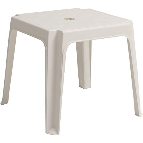 Marko Sun Lounger Side Coffee Table White Plastic Outdoor Garden Patio Furniture Stool