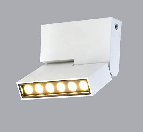 HAOFU - Lámpara de techo, focos ajustables y giratorios para interiores, de luz blanca cálida, 12W, 1000 lúmenes, 3000K, forma recta en barra, 13.3 x 11.6 x 2.6CM (blanco+blanco cálido)