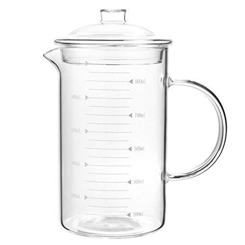 Lurrose Glass Measuring Cup, High Borosilicate Graduated Beaker Mug Cup Angled Measuring Cup Glass Measuring Cup for Cooking Baking 1000ML (Transparent, with Lid)