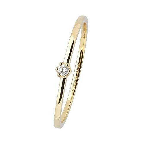 Xenox Damen Ring 9 Karat 375er Gelbgold mit 0,03 ct Diamanten Krappenfassung - Krappe XG4002G, Ringgröße (Durchmesser):54 (17.2 mm Ø)