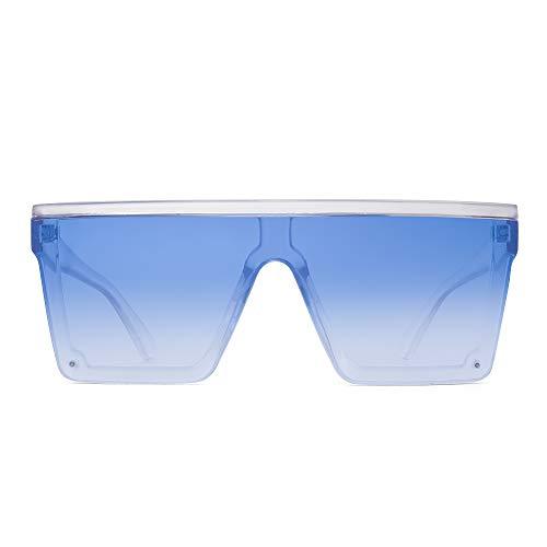 JIM HALO Occhiali da Sole Flat Top Scudo Senza Montatura Quadrata Specchio per Donna Uomo (Montatura Trasparente/Lente Blu Gradiente)