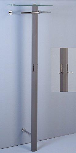 Dreams4Home Garderobe 'Kundu III' - Garderobenpanell, Panell, Aufbewahrung, 2 Haken, Maße:50x185x36cm, Ausführung: MDF - Dekor Hochglanz anthrazit, Haken: 2 Haken verchromt, Bügel: Metall verchromt, Hutablage: Sicherheitsglas klar - 8mm