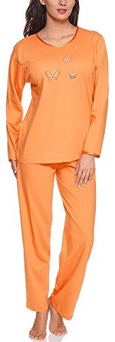 Merry Style Damen Langarm Schlafanzug 91LW1 (Orange (Langarm), 38 (Herstellergröße: M))