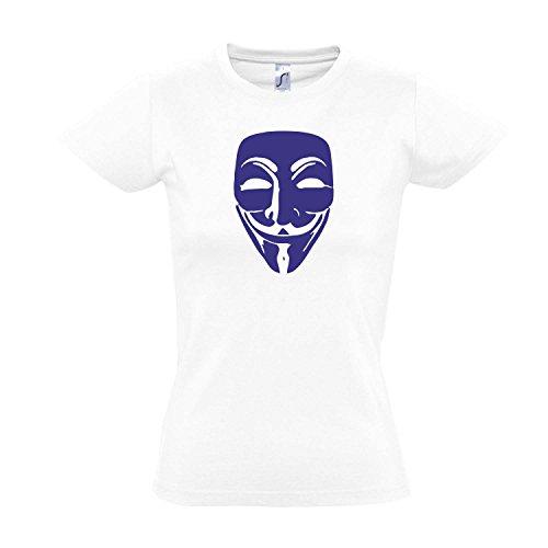 Damen T-Shirt - Anonymous Maske, Guy Fawkes, Acta, Vendetta Kult-Shirt, White - blau, XXL