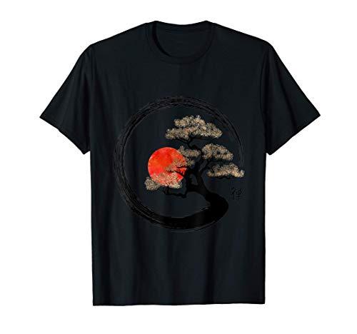 Enso Circle and Bonsai Tree on Canvas T Shirt T-Shirt