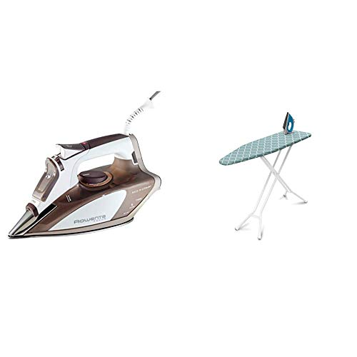 Rowenta DW5080 1700-Watt Micro Steam Iron Stainless Steel Soleplate with Auto-Off, 400-Hole, Brown & Homz 4-Leg Steel Top Ironing Board, Blue Lattice Cover