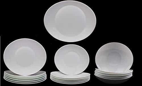 Fitting Gifts Bistro Collection Service de Table Prometeo de Forme Ovale, Blanc Brillant, avec 6X Grandes Assiettes, 6X Assiettes à Dessert, 6X Assiettes Creuses et 1x Plat de Service (19 Pièces)
