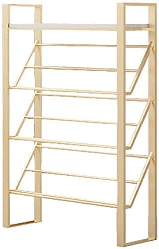 Rack de zapatos Tallador de zapatos de 4 niveles Estantes de almacenamiento de metal para sala de estar Entrada Pasillo y guardarropa Buena capacidad de rodamiento Pie de almacenamiento Organizador de