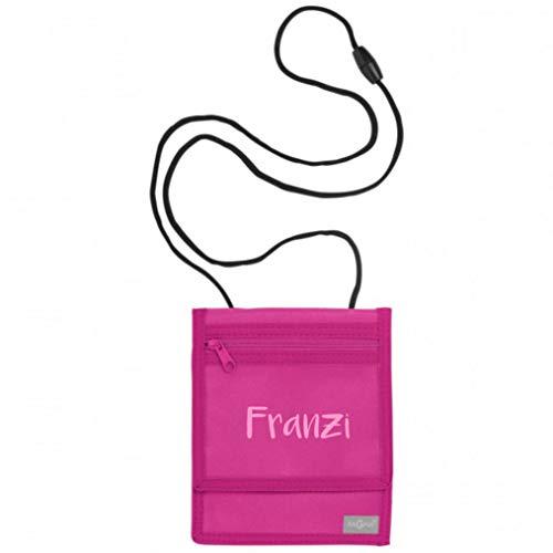 Brustbeutel mit Namen | Motiv Namensdruck | personalisiert & Bedruckt | Geldbörse Kindergeldbeutel Münzfach für Kinder Jungen Mädchen mit Klettverschluss zum Umhängen (pink)