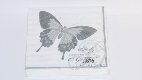 Lot de 20 Serviettes Qstalls/Pkg Lene Bjerre Butterfly Chiffon en Cellulose 3 Plis Gris/Blanc 40 x 40 cm