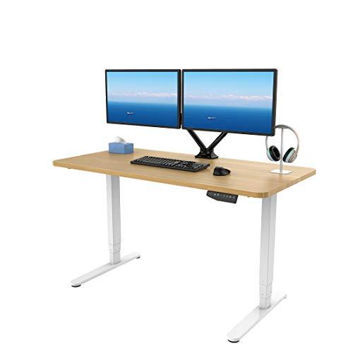 SANODESK Höhenverstellbarer Schreibtisch Elektrisch höhenverstellbares Tischgestell, 3-Fach-Teleskop mit der Tischplatte. Mit Memory-Steuerung und Softstart/-Stop (Maple+Weiß) …