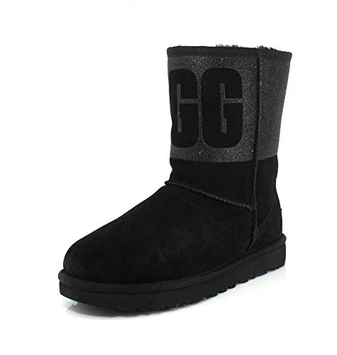 UGG Womens Classic Short Sparkle Black Boot - 11
