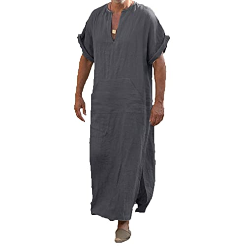 Herr V-ringad linnekappa Kort ärm Kaftan Thobe Långklänning Fritidsskjorta för stranden, Mäns Mellanöstern Saudiarabiska kläder,Gray,XL