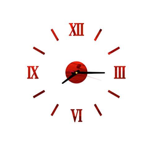 VOSAREA Reloj de Pared sin Marco Adhesivo de Bricolaje Adhesivo Acrílico Reloj de Pared Silencioso (Rojo)
