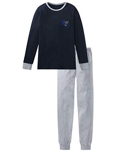 Schiesser Jungen Anzug lang Zweiteiliger Schlafanzug, Blau (Nachtblau 804), (Herstellergröße: 152)