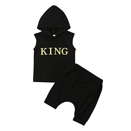 Loalirando Baby Jungen Kleidung Set Ärmellos Hoodie Tops+ Kurze Hosen/Shorts Camouflage Anzug Sommer Outfits (1-2 Jahre, King)