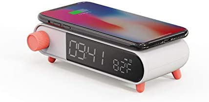 Apexto Alarm Clock with Wireless Charging Digital Electric Clock Indoor Thermometer Calendar product image