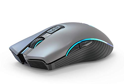 Wireless Gaming Mouse Bluetooth 2.4G Rechargeable Ergonomic Full Size Wireless Mice with Nano USB Receiver 7 Color Dazzle Light 3 Adjustable DPI Levels,6 Buttons for Notebook,PC,Laptop,MacBook