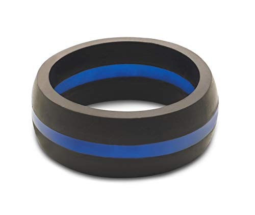 Men's Thin Blue Line Classic Silicone Ring Size 10