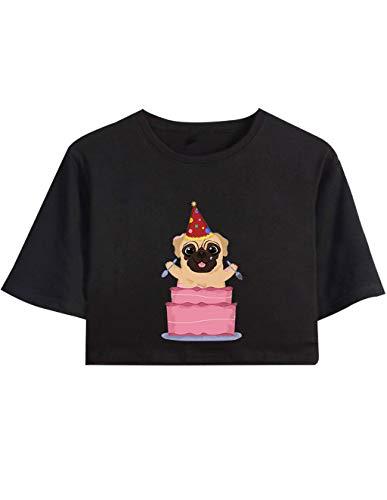Siennaa Crop Tops Damen Sommer, Teenager Mädchen Ugly Mops Pugs Druck Bauchfrei Oberteile Niedlich Hund Sport Blusen Shirt Hemd Kurzes Tank Top Frauen Kurzarm T-Shirt Pullover Sale (A-Schwarz,XS)