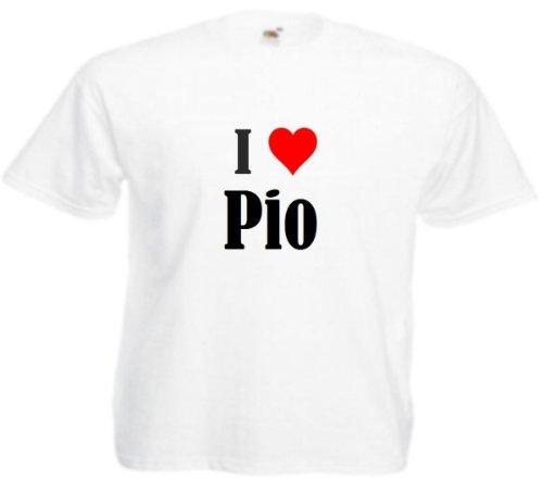 T-Shirt I Love Pio Größe 2XL Farbe Weiss Druck Schwarz