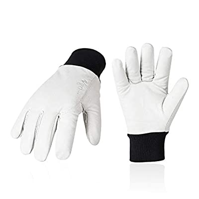 Vgo 3Pairs 41°F or above Men's Pigskin Leather Work Gloves, TR Lining w/Knitted Cuff (Size L, White, PA8950)