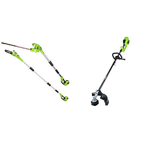 Greenworks 8.5' 40V Cordless Pole Saw with Hedge Trimmer Attachment, Battery Not Included PSPH40B00 with 14-Inch 40V Cordless String Trimmer (Attachment Capable), Battery Not Included 2100202