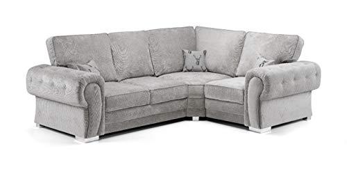 Honeypot - Sofa - Verona - Fullback - Corner Sofa - 3 Seater - 2 Seater - Footstool (Grey, Right Hand Corner)