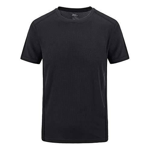 Andouy Herren Casual Einfarbig O-Neck in Übergröße T-Shirt Sport Schnell-trocknend Atmungsaktiv Top Bluse(4XL.Schwarz)