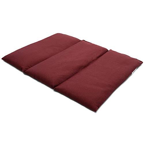 Cojín térmico para la espalda o el vientre 40x30 cm burdeos - Saco térmico de calor con semillas - Para microondas y horno - Semillas de lino